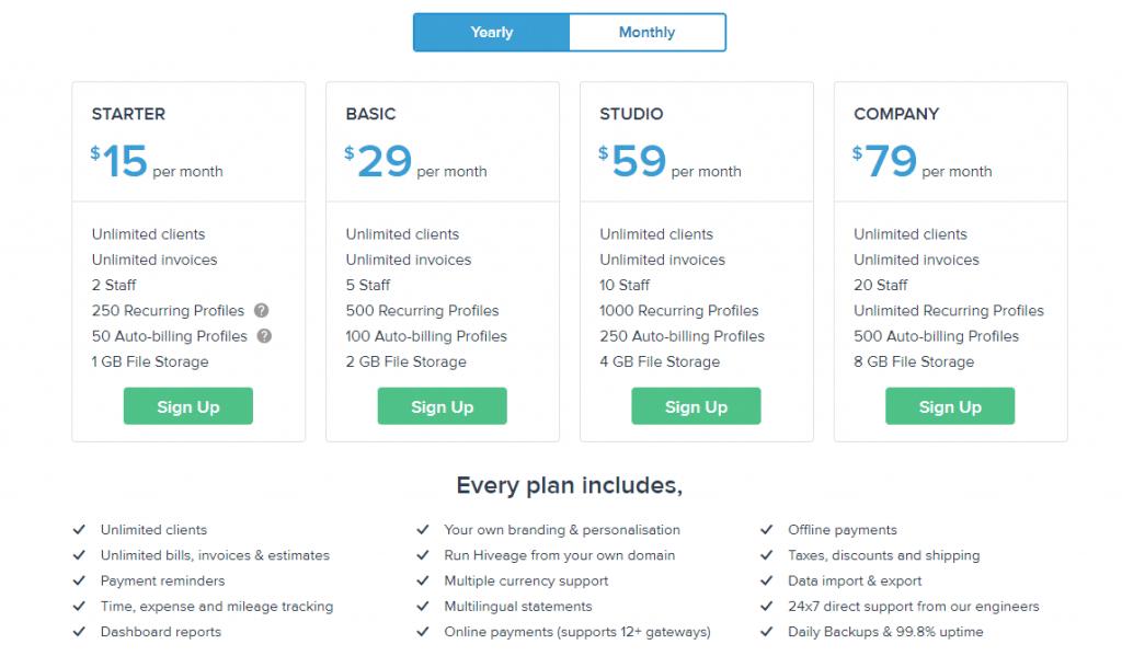 Hiveage Basic plan regular monthly pricing