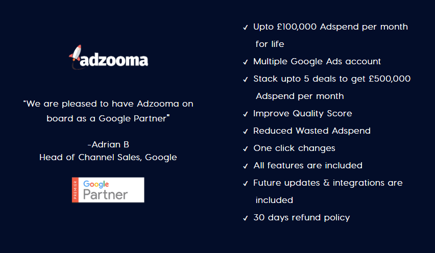 Adzooma lifetime deal features & limits